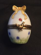 Rochard Peint Main Limoge Porcelain Trinket B Ladybug And Flowers Egg Shape