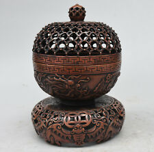 "8"" Chinese Bronze Wealth Bat Flying Zodiac Dragon Statue Incense Burner Cense"