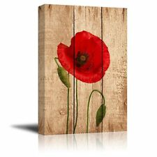 """Canvas Prints Wall Art - Red Poppy Flower on Vintage Wood Background - 12"""" x 18"""""""