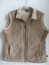 WOOLRICH ✿FAB FAUX SUEDE IVORY SHERPA LINED 2 WAY ZIP VEST ✿ L LG  EXC WORN ONCE