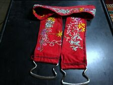 An Embroidered Chain Stitched Red Cotton Textile Belt Vintage