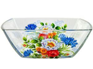 18 fl oz Glass Bowl w/ Rosehip Flowers Pattern Decor Deep Dish Salad Plate Piala