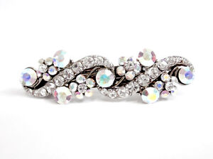 CRYSTAL FLOWER AND VINE HAIR BARRETTE ACCESSORY CLIP ANTIQUE SILVER TONE
