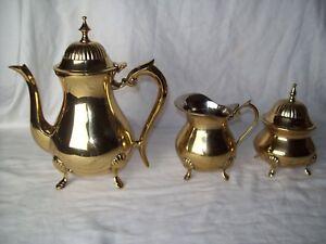 Vintage Brass Tea Serving Set ~ Includes; (Tea Pot ~ Creamer & Sugar Container)