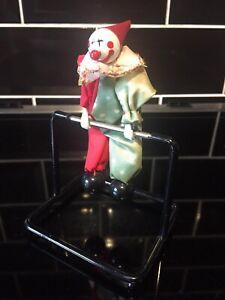 Vintage Kinetic Clown Acrobat Metal Perpetual Motion Desk Top Toy