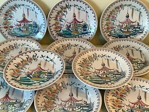 Mottahedeh Hand Painted Chinoiserie Pagoda Garden Luncheon Plates Set of 11