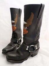 HARLEY DAVIDSON black leather stitched eagle logo harness boots 5M
