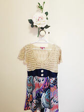 ✿♡ 'NCC' Womens Dress Size 12 (Cute Funky Peacock Bright Crochet Knit 70's) ♡✿