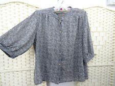 VINTAGE Japanese sheer retro shirt chiffon geo grey floaty  boho top M/L