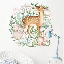 Removable Wall Sticker Nursery Woodland Animals Watercolour Deer Bunny DIY AU