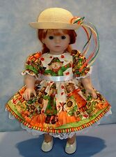 18 Inch Doll Clothes - Fall Scarecrow II Dress and Hat handmade by Jane Ellen