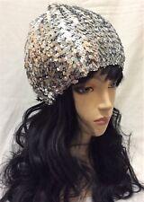 Silver Stretch Beanie S/M Size Siqun Disco Shiny Hat Skull Hip Hop