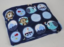 GARANIMALS Blue SHERPA Baby BLANKET Circles LION Sailor Monkey NAUTICAL Whale