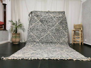 "Moroccan Zanafi Handmade Gray Rug 5'9""x9'8"" Flat Geometric Berber Wool Carpet"