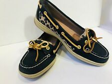 SPERRY topsider boat deck shoes Womens size 7.5 black leopard leather shoes
