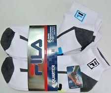 FILA Men's Socks 6 Pack Quarter Crew L White Neon Lime Blue Cushion Dry Athletic