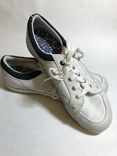 KEDS White Leather with Blue Low Top Lace Tie Women's Size 8