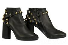 NEW BALENCIAGA BLACK LEATHER STUDDED DETAIL BOOTIE BOOTS  HEELS SHOES 37/US 7