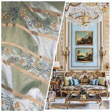 SALE! Designer 100% Silk Taffeta Aqua Blue Fabric Embroidered Floral Drapery