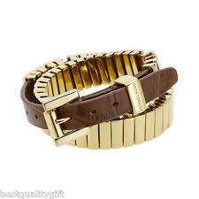 MICHAEL KORS GOLD+BROWN CROC LEATHER WRAP AROUND BRACELET+BELT BUCKLE MKJ1070