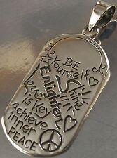 STERLING SILVER Be Yourself Enlighten Love is Key Peace CHARM PENDANT oxidised