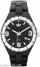 NEW ADIDAS CAMBRIDGE ACRYLIC ALL BLACK BAND+WHITE WATCH w/ DATE ADH2593