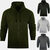 Mens Zipper Hoodie Hooded Sweatshirt Fleece Top Plain Hoody Jumper S - 5XL