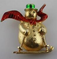 Vintage gold tone signed Gerry's red enamel ski snowman green hat pin brooch
