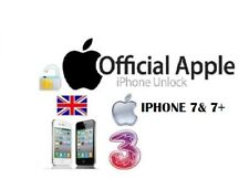 THREE 3 HUTCHISON UK IPHONE 7 7 PLUS 7+ CLEAN IMEI PERMANENT FACTORY UNLOCKING