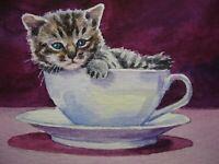 Watercolor Painting Cat Kitten Tea Сup Home Pet ACEO Art