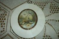 ANTIQUE FRENCH MINIATURE PAINTING DUCKS CELLULOID ORMOLU SIGNED RARE