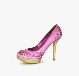 CHRISTIAN DIOR Women PYTHON Shoes Size 39 9 Womens Pink Heels Pumps