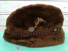 United Hatters Cap   Millinery Workers Union Faux Fur Hat Medium USA Vintage 6061b1f1c19d