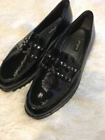 PAUL GREEN Women's Size 8 SOFIA Black Patent Studded Loafers Shoes 5.5 UK