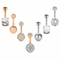 Gem CBR Dangle Aurora Borealis AB Crystal 14g 716 Rose Gold Belly Button Ring 316L Stainless Surgical Steel Captive Bead Ring 11mm