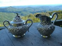 American Sterling Silver Large Repousse Cream Jug and Sugar Bowl 1900