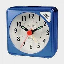 Acctim Ingot Mini Alarm Clock Blue Travel Pocket Size Battery Operated
