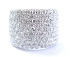18Kt Round Cut Diamond Pave WIDE 11-Row White Gold Ring 2.15Ct