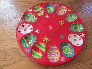 "Boston Warehouse Christmas Ornaments Deviled Egg Plate 2006 10"""