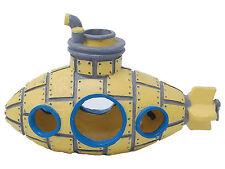 Yellow Sunken Submarine Sub U-Boat Aquarium Ornament Fish Tank Cave Decoration