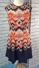 Gabby Skye Sleeveless Shift Dress UK Size 14 Aztec Print Flared Skirt (D40)