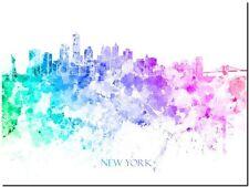 "New York City Skyline USA Watercolour Abstract Canvas Art Print 36x24"""