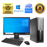 HP Dual Core Desktop LCD Monitor 8GB 4TB HDD WiFi Windows 10 Pro PC 3.3GHz