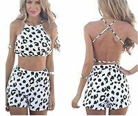 Leg Avenue Black & White Animal Print Crop Beach Summer Top & Shorts Size 10-12