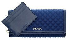 Prada Wallet Quilted Nylon And Leather ID Holder Blue New
