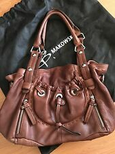 B. Makowsky Hobo Handbag Brown Pebbled Leather