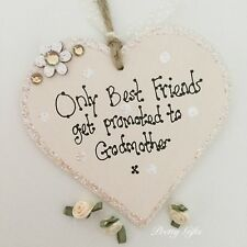 Only Best Friends Get Promoted To Godmother Godfather Heart Plaque Keepsake Gift