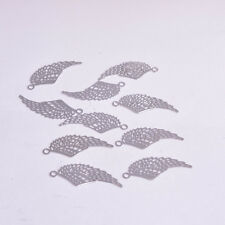 Feather Charm Tiny Delicate Small Silver DIY Pendant Set of 10 Wings Filigree