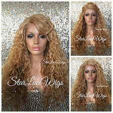 Wavy Honey Blonde Ombre Lace Front Wig Bangs Layered Side Part Heat Safe Ok