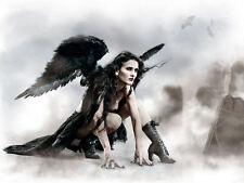 Framed Print - Gothic Angel with Black Wings in a Graveyard (Picture Poster Art)
